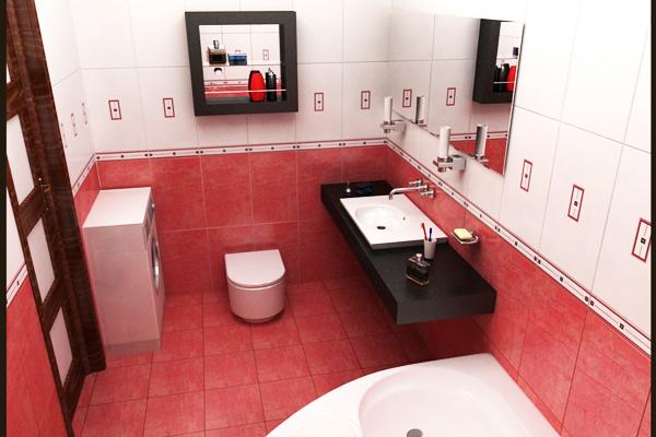 интерьер ванной в современном стиле со стиральной машиной фото