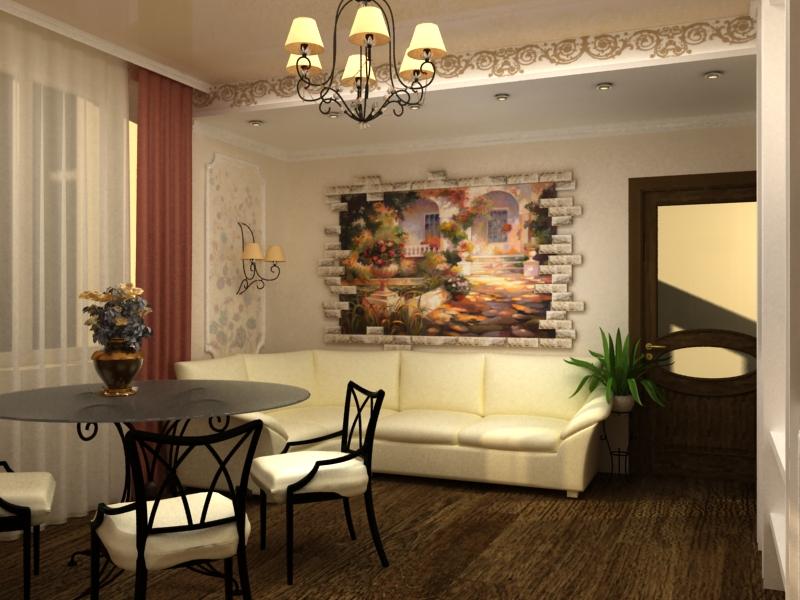 Фреска в интерьере фото в гостиной