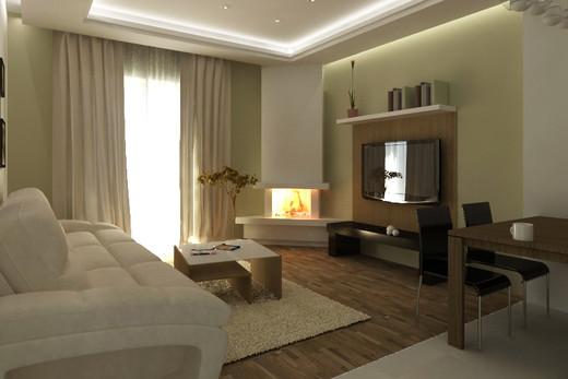 Камины в интерьере гостиной. Фото и дизайн в городской квартире DomoKed.ru