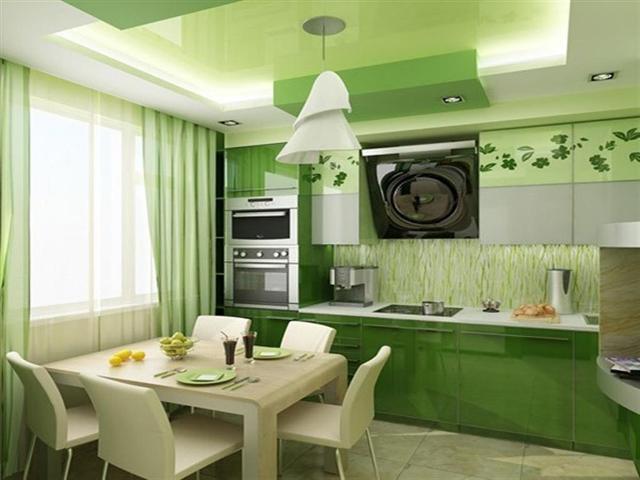 Интерьер кухни фото в зеленых тонах