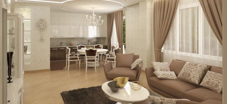 дизайн столовой-гостиной в частном доме фото