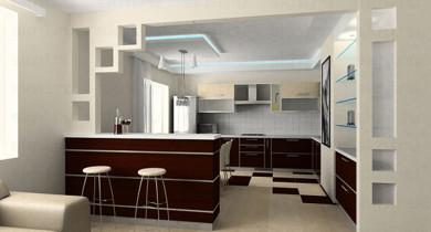 дизайн кухни совмещенной с гостиной фото с барной стойкой