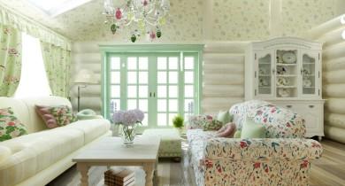 спальня в стиле прованс в деревянном доме фото