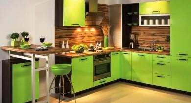 дизайн кухни в зеленых тонах фото
