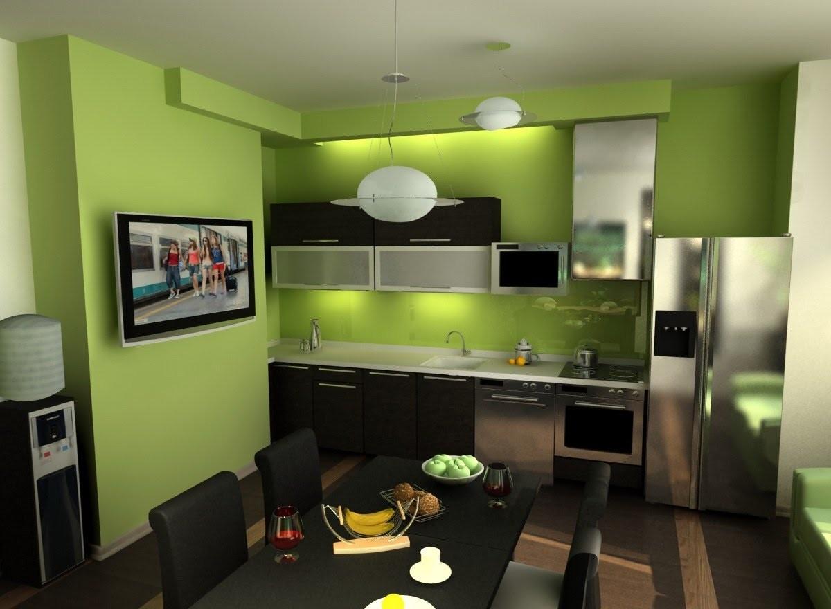 Дизайн интерьера кухни зеленого цвета