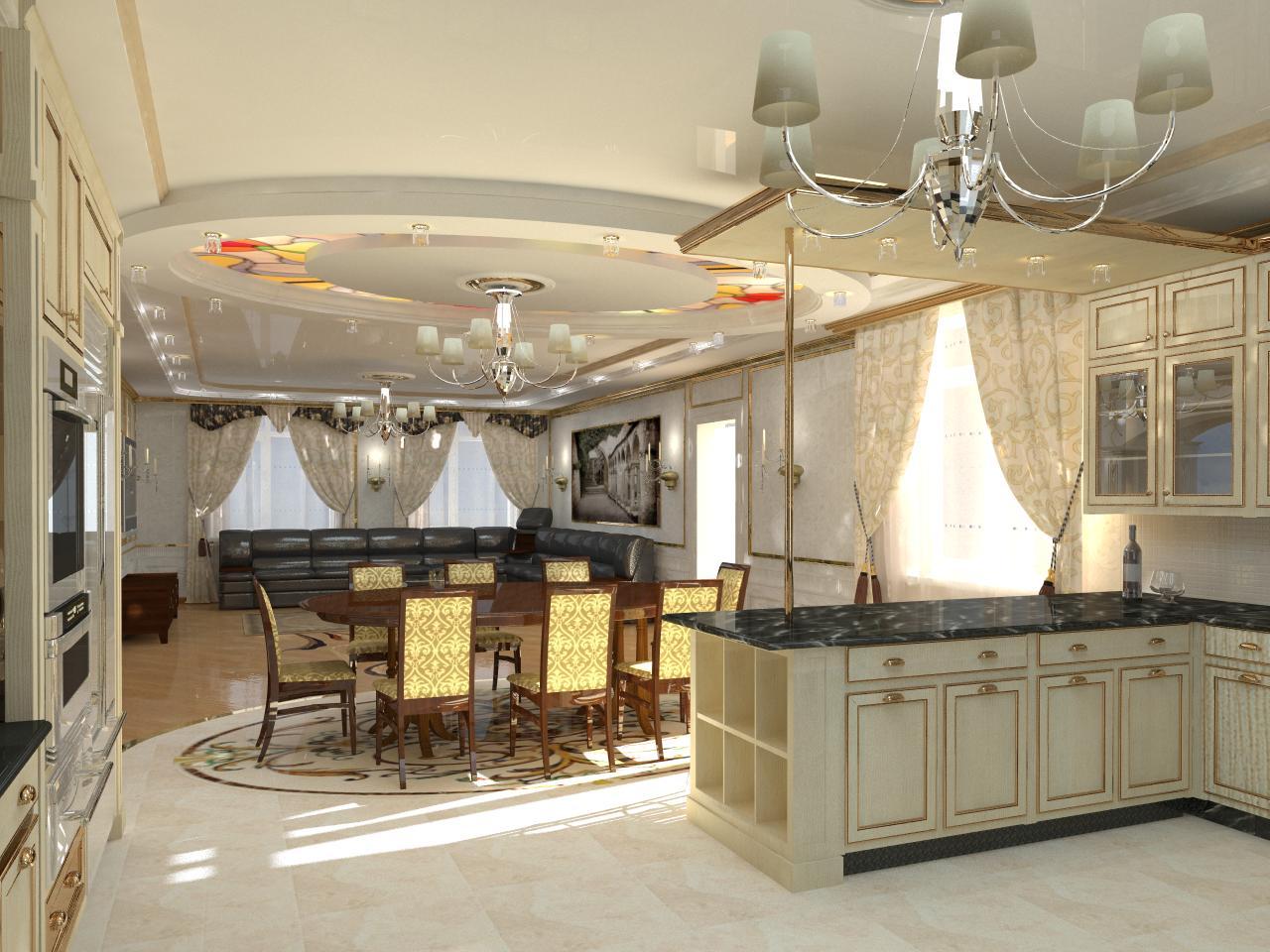 Большие кухни-столовой дизайн