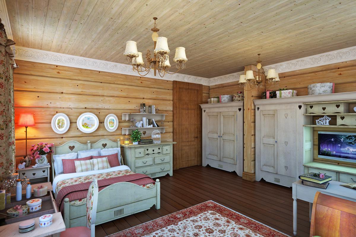 Стиль-прованс в дизайне в деревянном доме