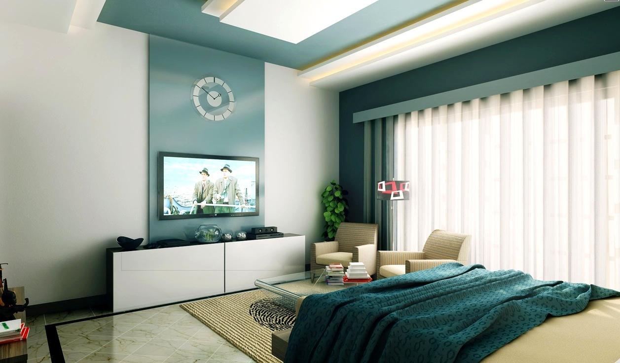 Телевизор в спальне на стене дизайн фото