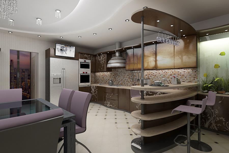 Кухня с баром дизайн фото