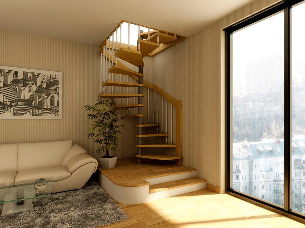 Лестница в доме с мансардой 150