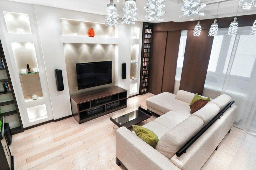 Современный дизайн гостиной с угловым диваном
