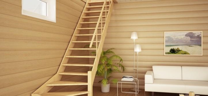 лестница на мансарду в небольшом доме