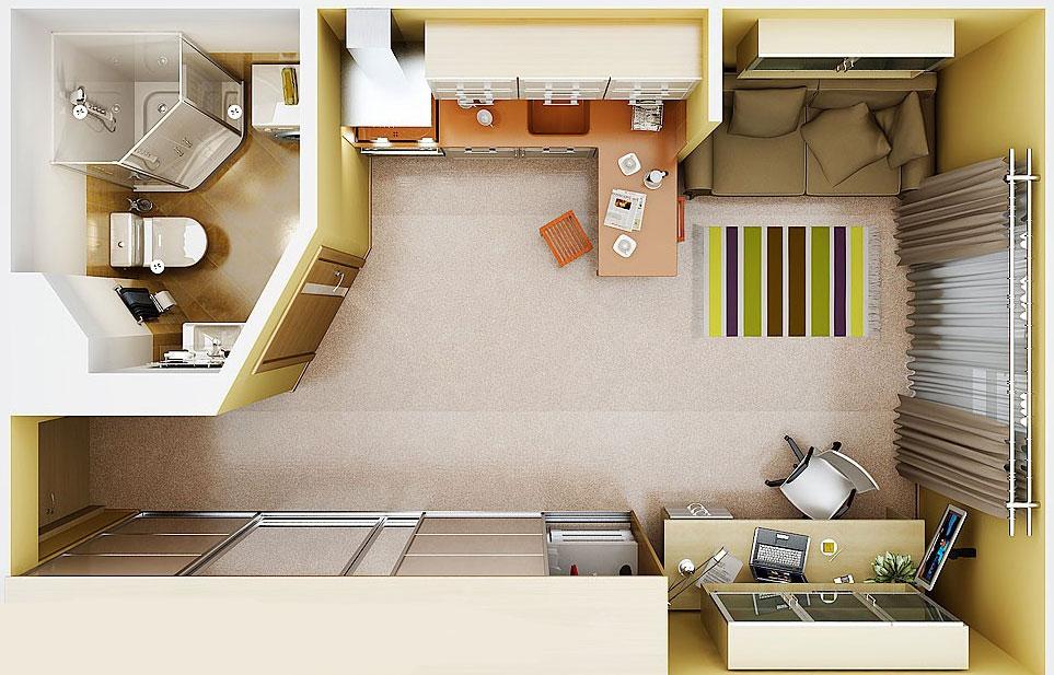 Дизайн квартиры студии 19 кв м