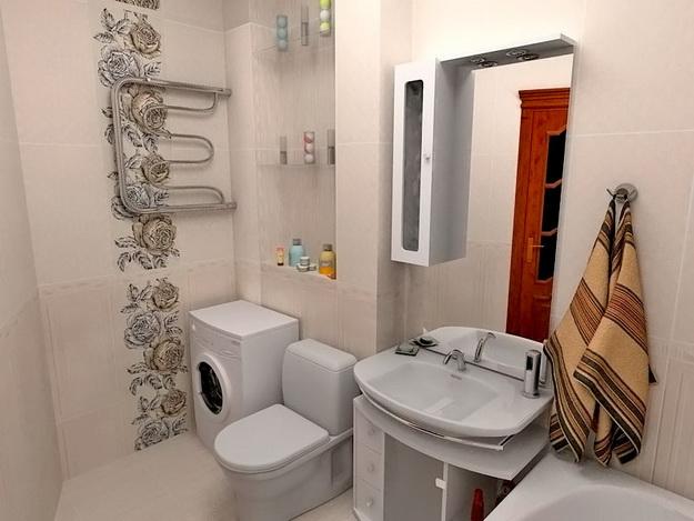 Дизайн ванной комнаты совмещенной с туалетом площадью 5