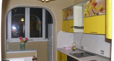 кухня с балконом объединение дизайн фото