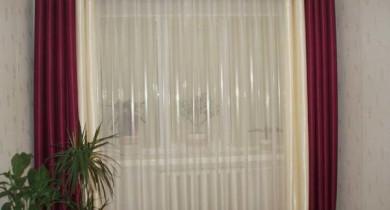 шторы на люверсах с тюлью для зала фото