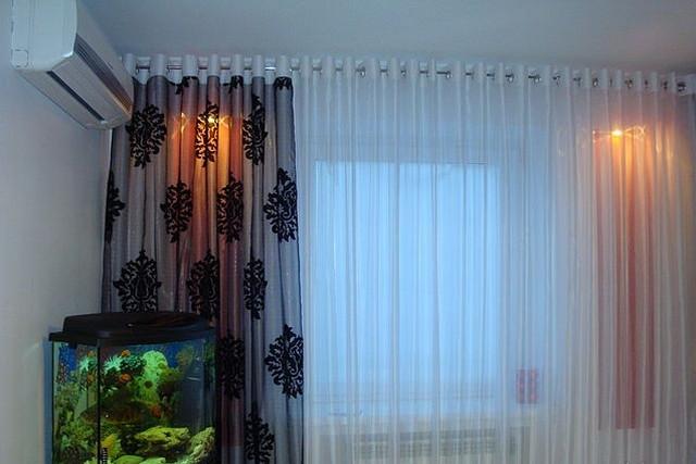шторы на люверсах для зала фото
