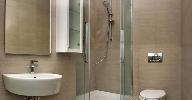 интерьер ванной комнаты с душевой кабиной совмещенной с туалетом фото