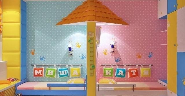 интерьер детской комнаты для мальчика и девочки вместе