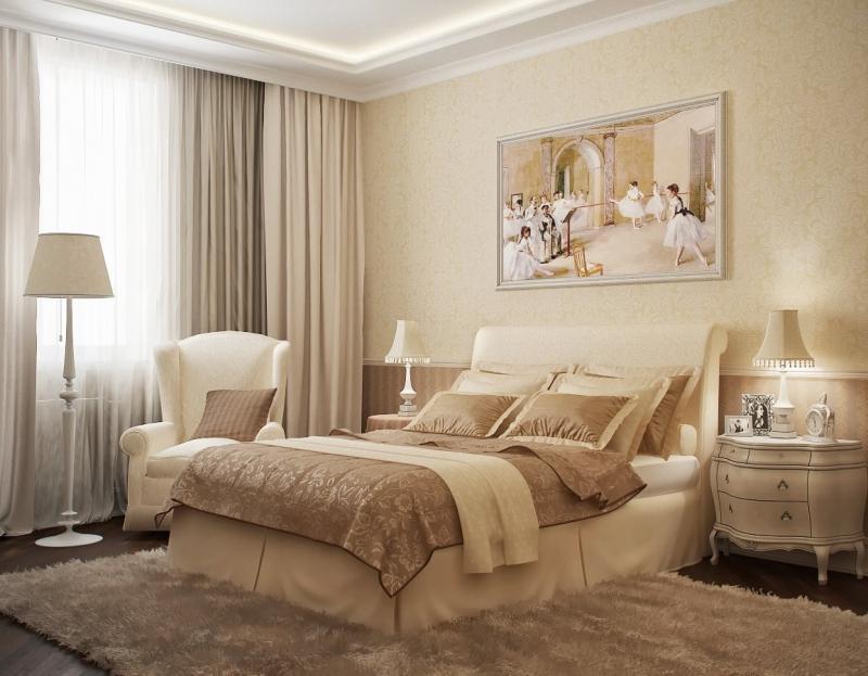 Спальни интерьер в теплых тонах фото