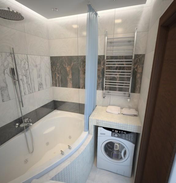 Дизайн ванной комнаты 2 кв.м без туалета со стиральной машиной