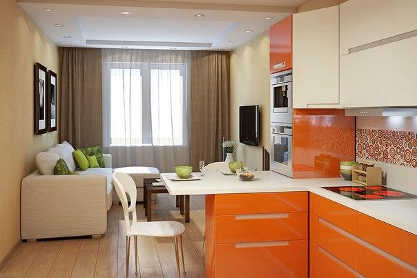 Дизайн кухни студии 15 кв.м кухня-гостиная