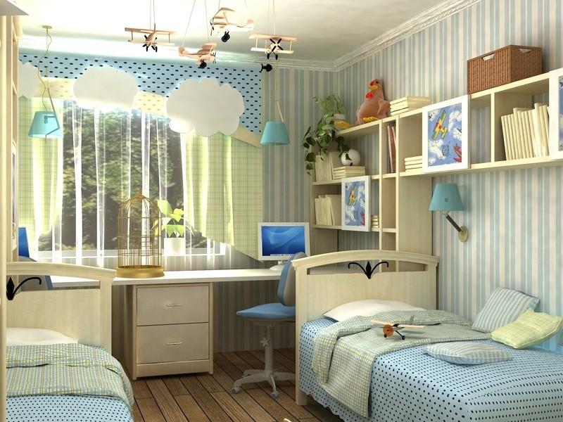 Дизайн детской комнаты для двоих детей подростков