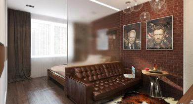 спальня-гостиная в одной комнате 18 кв.м фото с кроватью