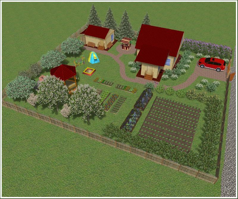 Дизайн дачного участка 12 соток с огородом