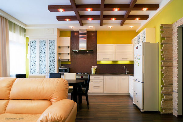 Балки на потолке в интерьере квартиры фото