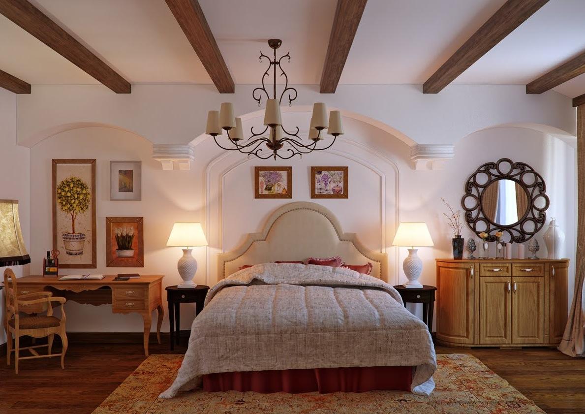 Потолок с балками в спальне дизайн