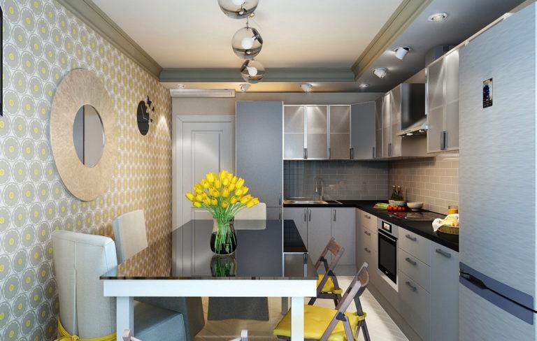 Прямоугольная кухня 12 кв м дизайн