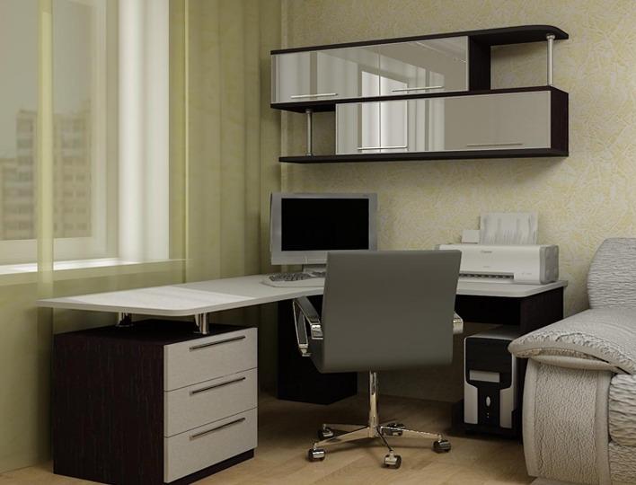 угловой компьютерный стол с полками и ящиками фото в интерьере