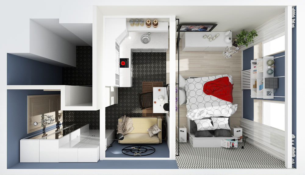 Студия 24 кв м дизайн