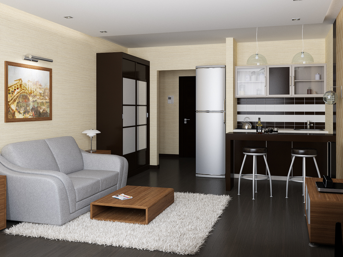 Дизайн комнаты студии с кухней 18 кв м 70