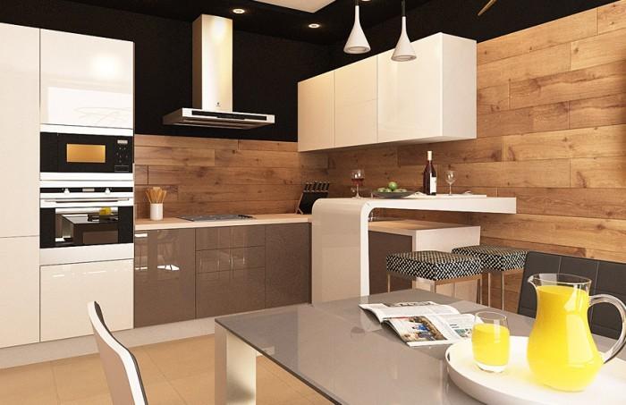 Интерьер кухни с ламинатом дизайна