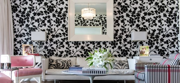 обои черно-белые для стен фото в интерьере