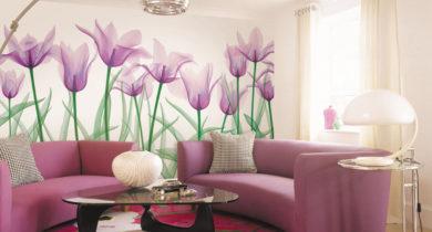 обои с крупными цветами для стен