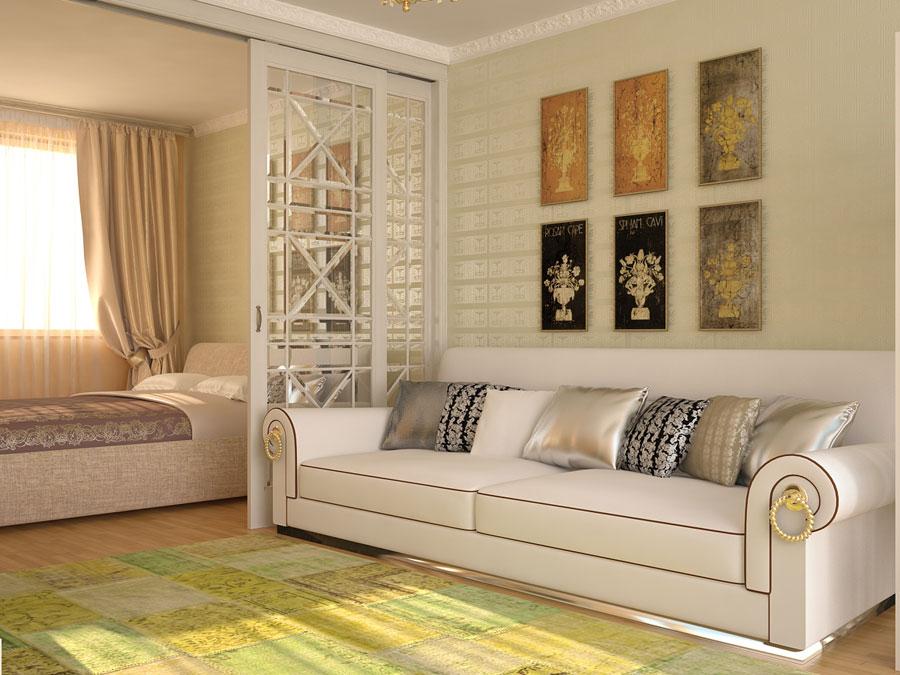 Дизайн спальни и гостиной 18 метров