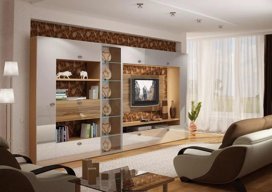 Современный дизайн стенки для гостиной (фото) domoked.ru.