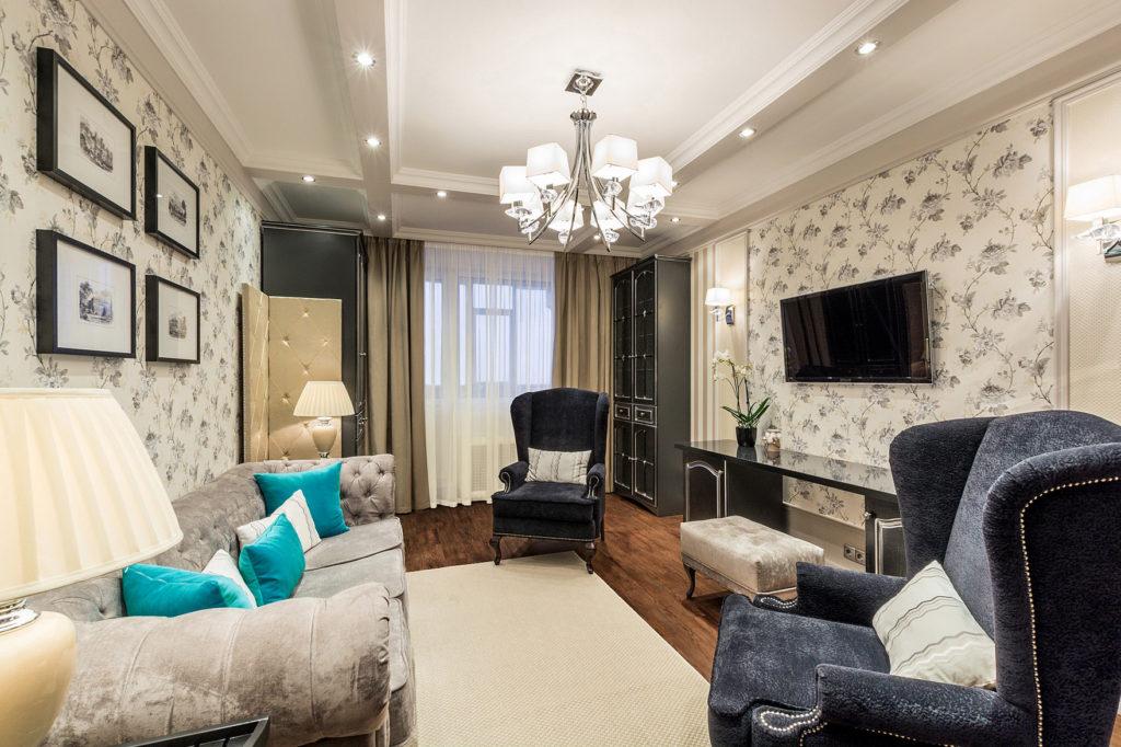 Дизайн гостинной 17 кв.м