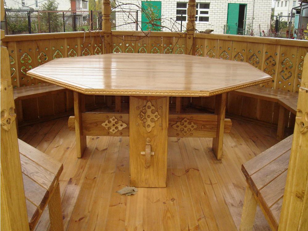 Как сделать обеденный стол из дерева для беседки