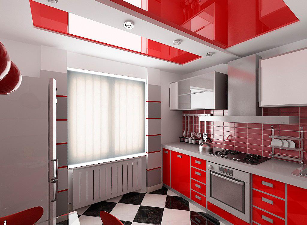 Красный цвет кухни и потолка
